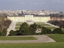 From the Gloriette hill looking towards Schonbrun Palace, Vienna, Austria