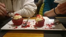 Red velvet cheesecake at Marty